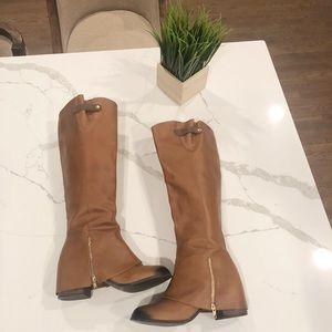 Joyfolie, Frankie Boots 10.5, Leather Brown Zipper